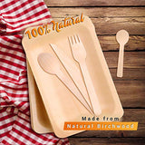 Disposable Wooden Cutlery Utensils Set – (Pack of 270) 55 10.5-inch Plates 55 Forks 55 Knives 55 Spoons 50 Small Spoons Eco-Friendly Silverware Compostable Flatware Biodegradable