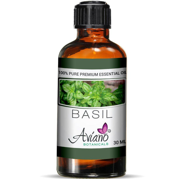 Basil Essential Oil - 100% Pure Blue Diamond Therapeutic Grade By Avíano Botanicals (30 ml)