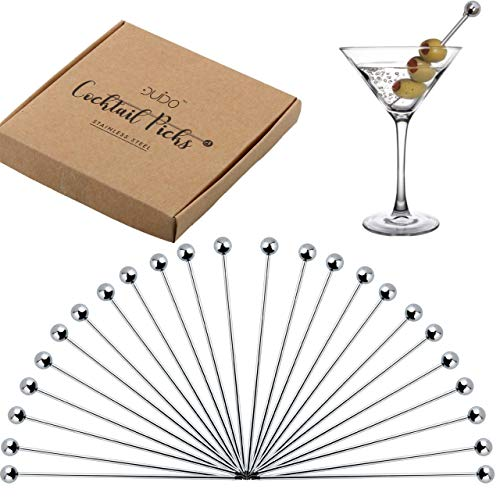 Cocktail Picks Stainless Steel Toothpicks – 4 inch 24 Pack Martini Picks Reusable Fancy Metal Drink Skewers Garnish Swords Sticks for Martini Olives Appetizers Bloody Mary Brandied