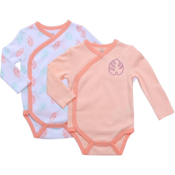 Asher & Olivia Baby Kimono Side Snap one piece 3 Pc Girl Long Sleeve Bodysuit Set