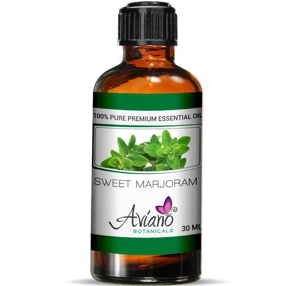 Sweet Marjoram Essential Oil - 100% Pure Blue Diamond Therapeutic Grade by Avíano Botanicals (30 ml)