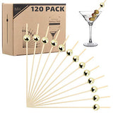Bamboo Cocktail Picks Skewers Toothpicks - 120 Pack Gold Pearl 4.75 inch Wooden Frill Tooth Picks for Appetizer Martini Food Garnish Cocktail Sandwich Fruit Kabobs