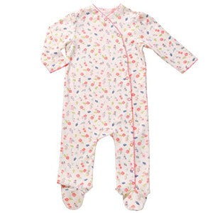 Asher & Olivia Footed Pajamas for Girls Top Baby Hat Side Snap  Sleepers - FLORAL