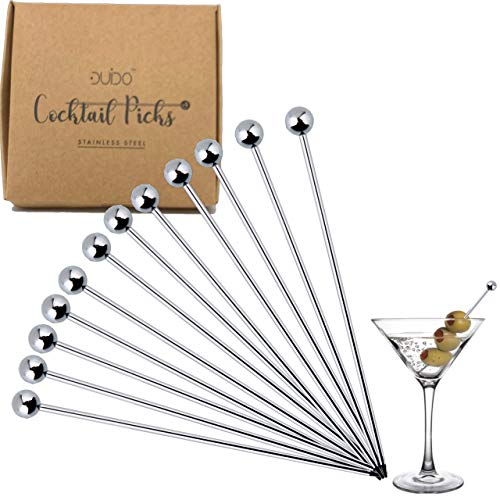 Cocktail Picks Stainless Steel Toothpicks – 4 inch 12 Pack Martini Picks Reusable Fancy Metal Drink Skewers Garnish Swords Sticks for Martini Olives Appetizers Bloody Mary Brandied