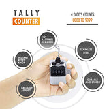 Hand Pitch Tally Counter Clicker– (4 Pack) METAL Handheld People Lap Counter Clickers with 1 Lanyard and 1 Carabiner – Manual Mechanical Silver Steel 4 Digit Number Finger Ring Click