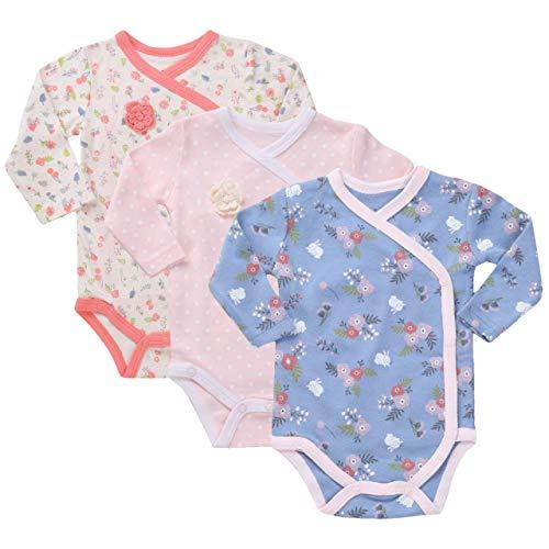Asher & Olivia Baby Kimono Side Snap one pieces 3 Pc Girl Long Sleeve Bodysuit Set
