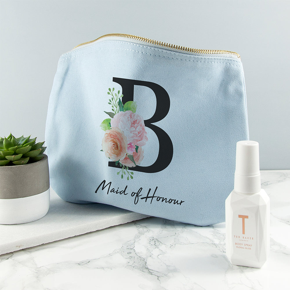 Personalised Floral Initial Blue Makeup Bag