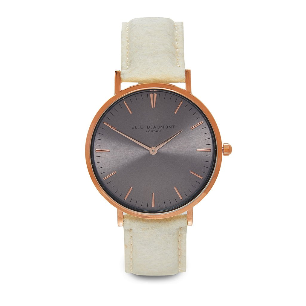 Personalised Vegan Leather Watch in Cream with Grey Face - treat-republic