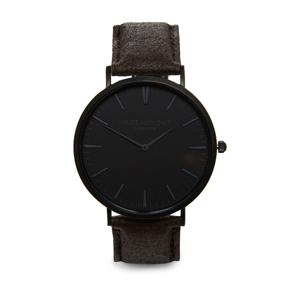 Personalised Men's Vegan Leather Watch in Brown with Black Dial - treat-republic
