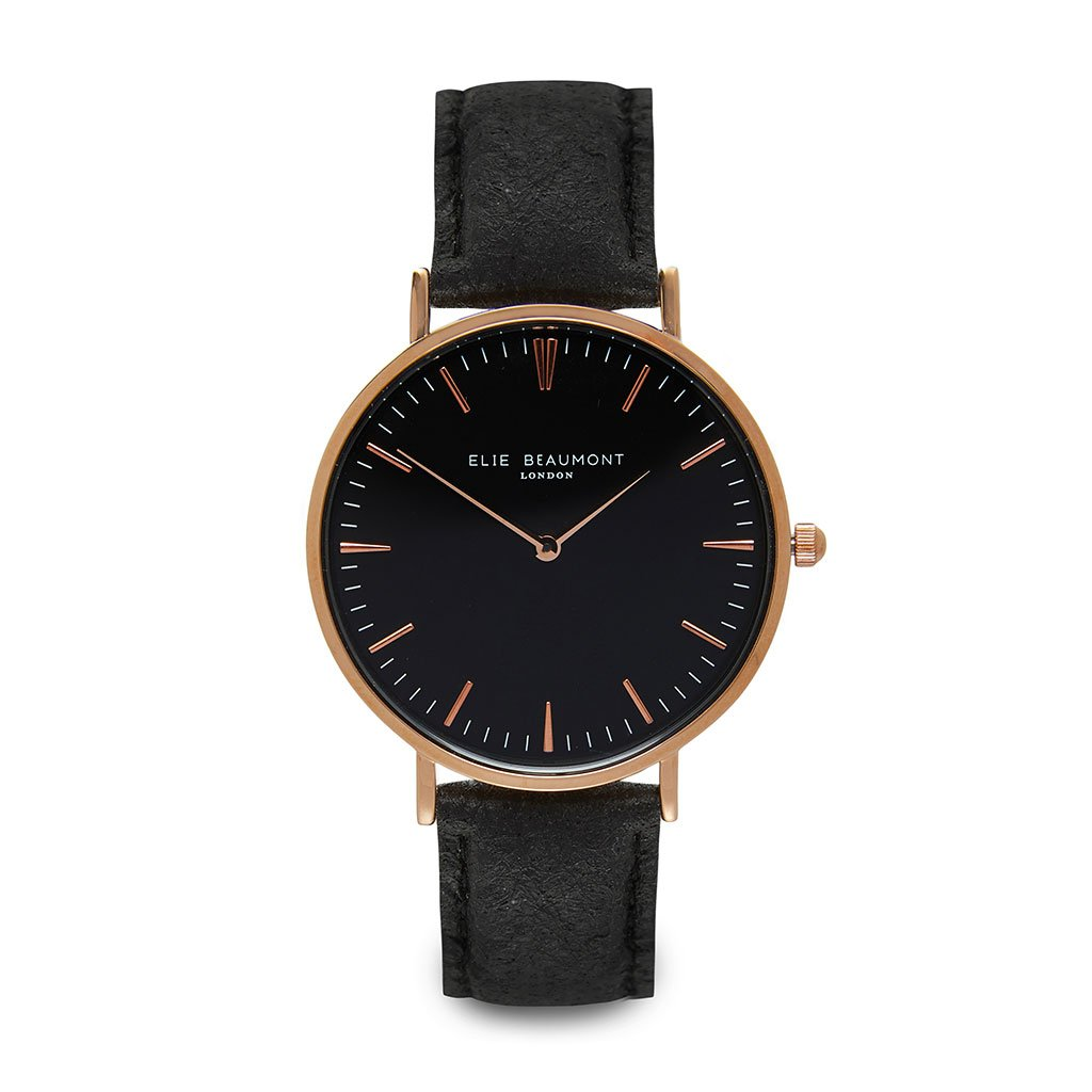 Personalised Vegan Leather Watch in Black with Black Dial - treat-republic