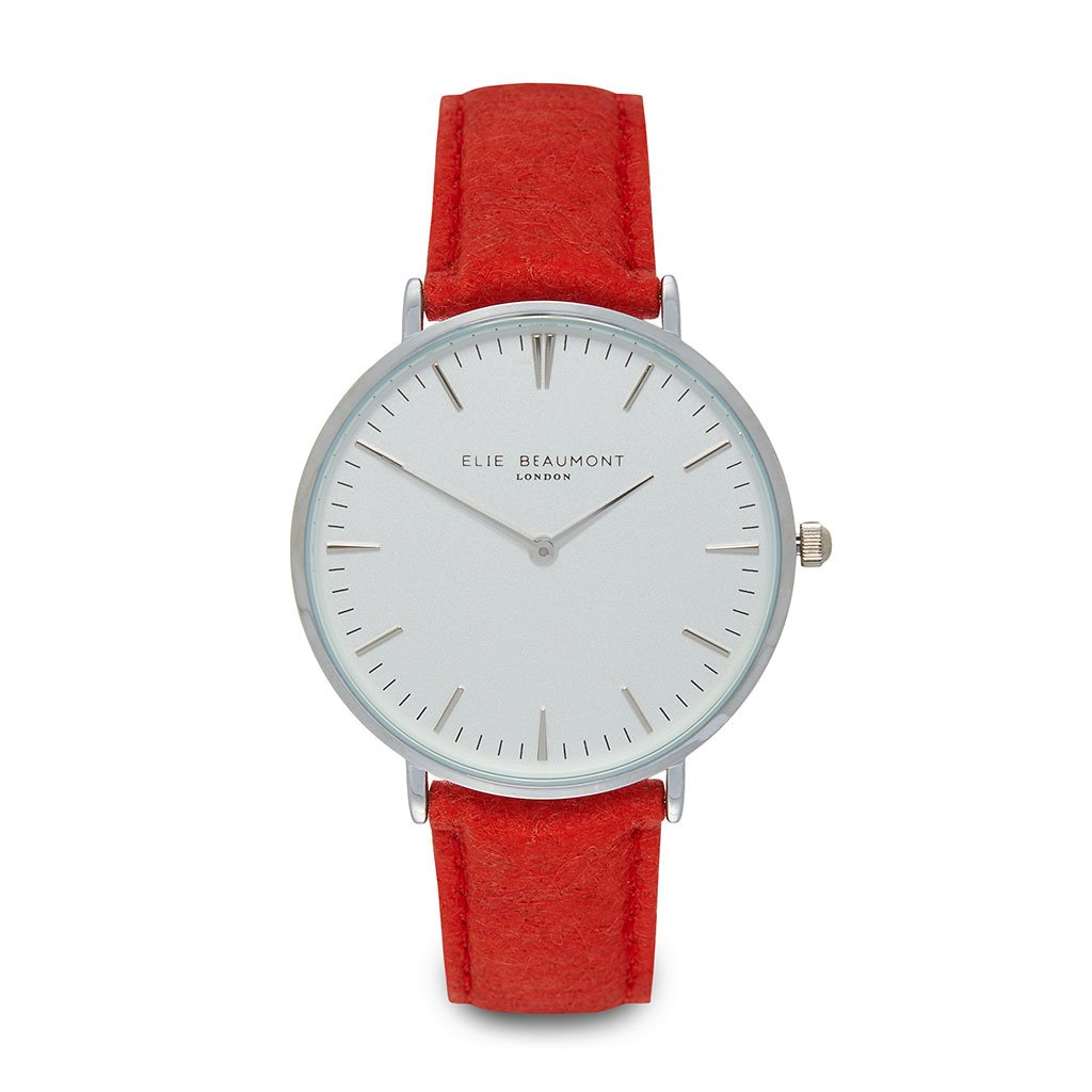 Personalised Vegan Leather Watch in Red with White Dial - treat-republic
