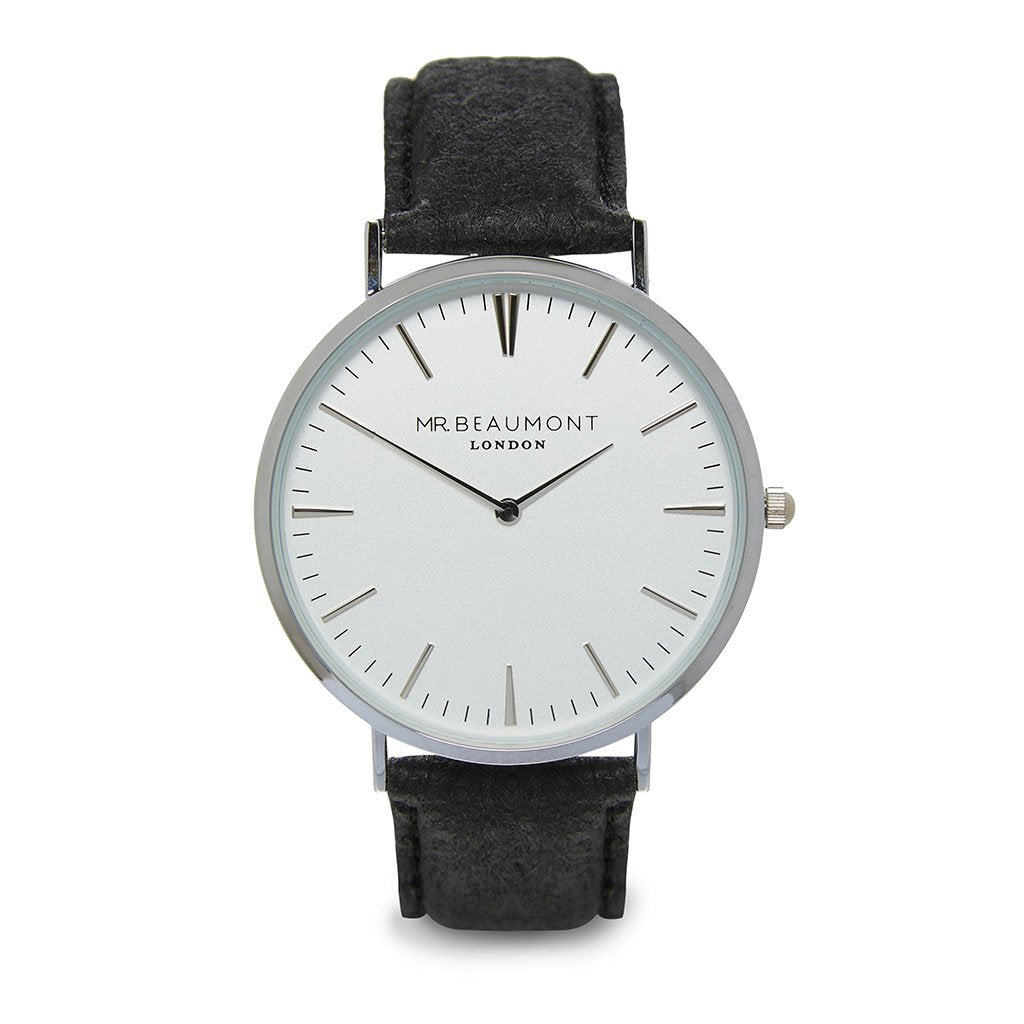 Personalised Men's Vegan Leather Watch in Black with White Dial - treat-republic