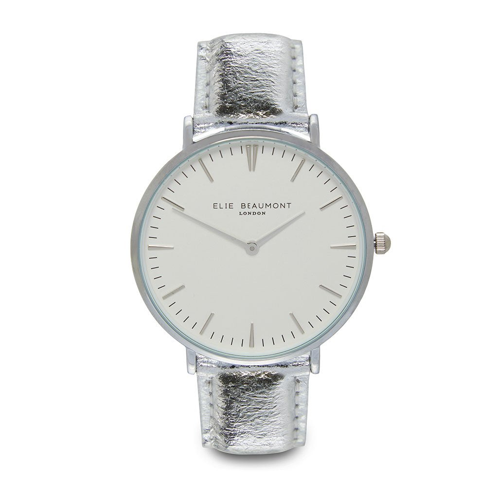 Personalised Vegan Leather Watch in Silver with White Dial - treat-republic