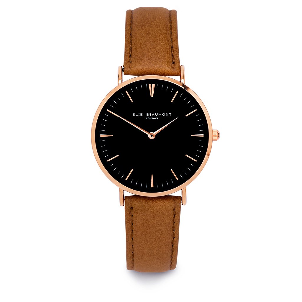 Elie Beaumont Ladies Personalised Leather Watch In Camel & Black