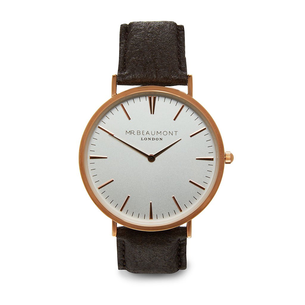 Personalised Men's Vegan Leather Watch in Brown with White Dial - treat-republic