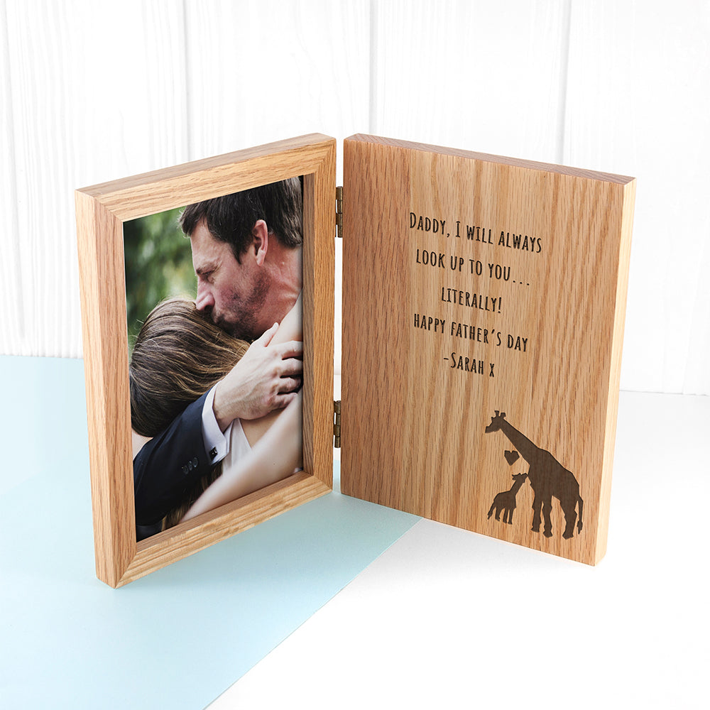 Engraved Father's Day Giraffe Book Photo Frame - treat-republic