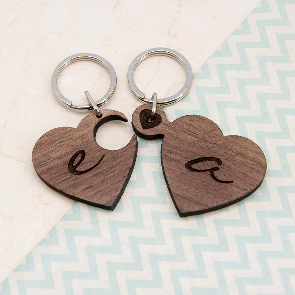 2 Heart Jigsaw Wooden Key Ring - Couple Initials - treat-republic