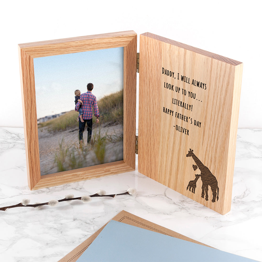 Engraved Father's Day Giraffe Book Photo Frame