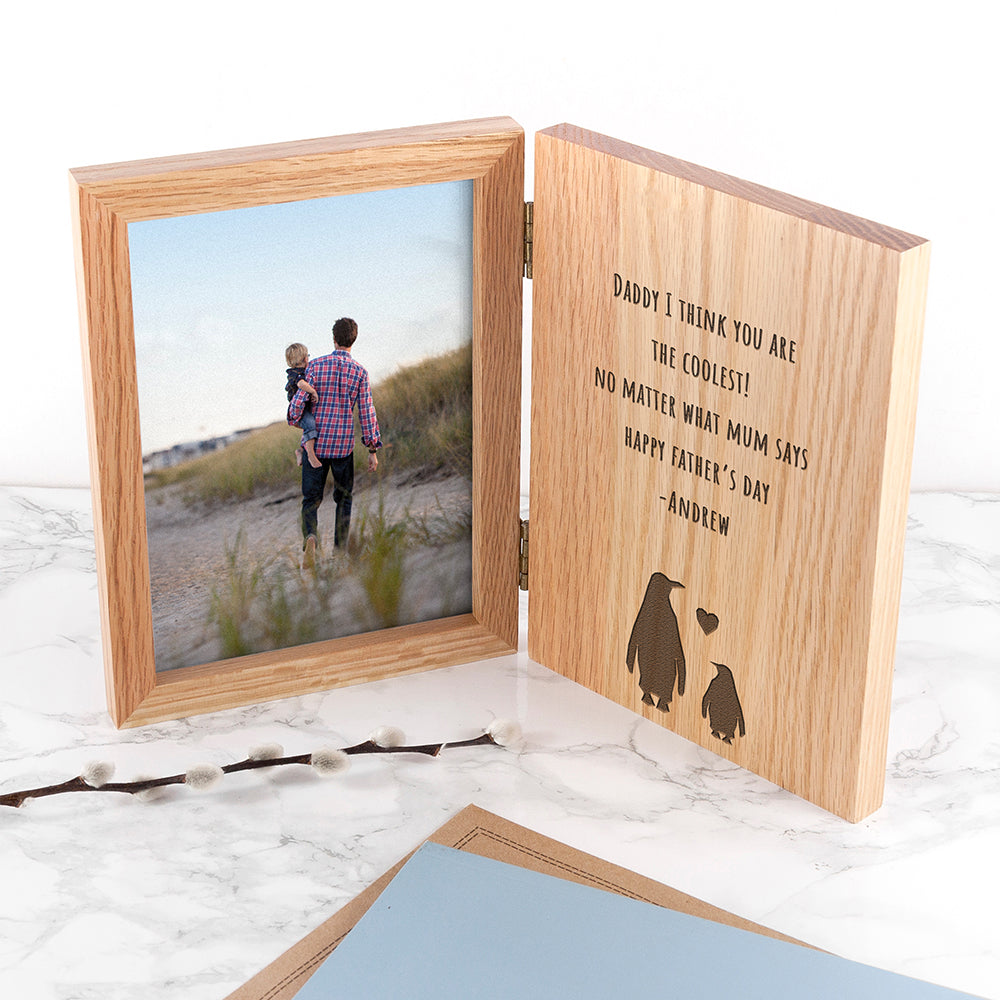 Engraved Father's Day Penguin Book Photo Frame - treat-republic