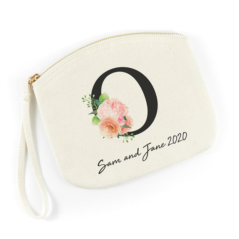 Personalised Floral Initial Canvas Makeup Bag