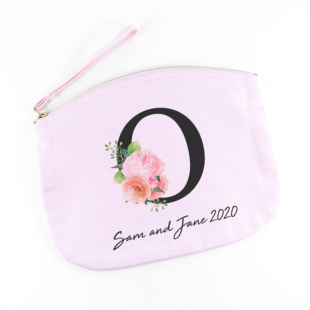 Personalised Floral Initial Pink Makeup Bag