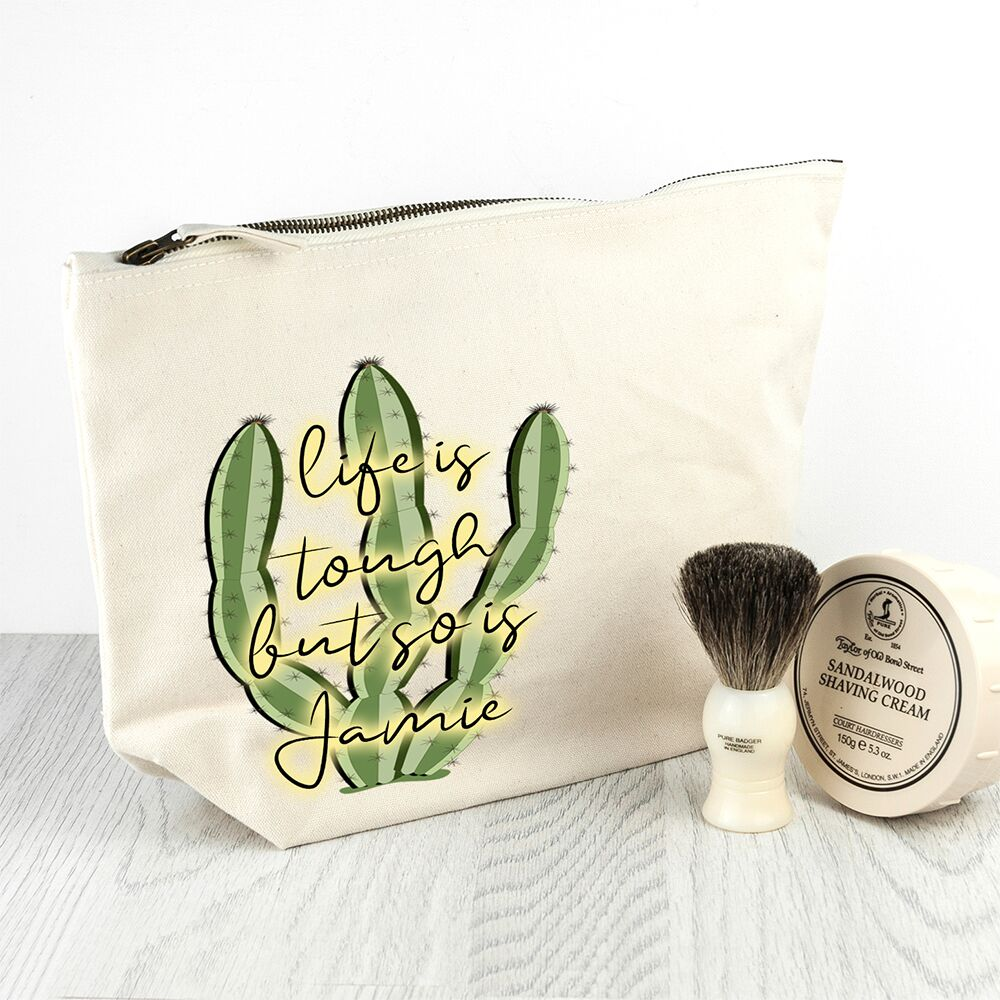 Personalised Tough as Cactus Cream Wash Bag - treat-republic