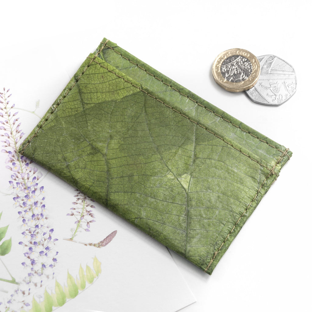 Cardholder in Leaf Leather - Leaf Green