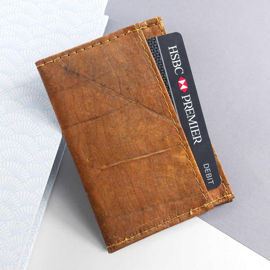 Cardholder in Leaf Leather - Cinnamon Orange