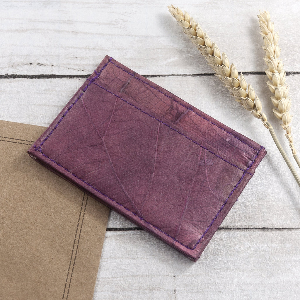 Cardholder in Leaf Leather - Dark Lavender