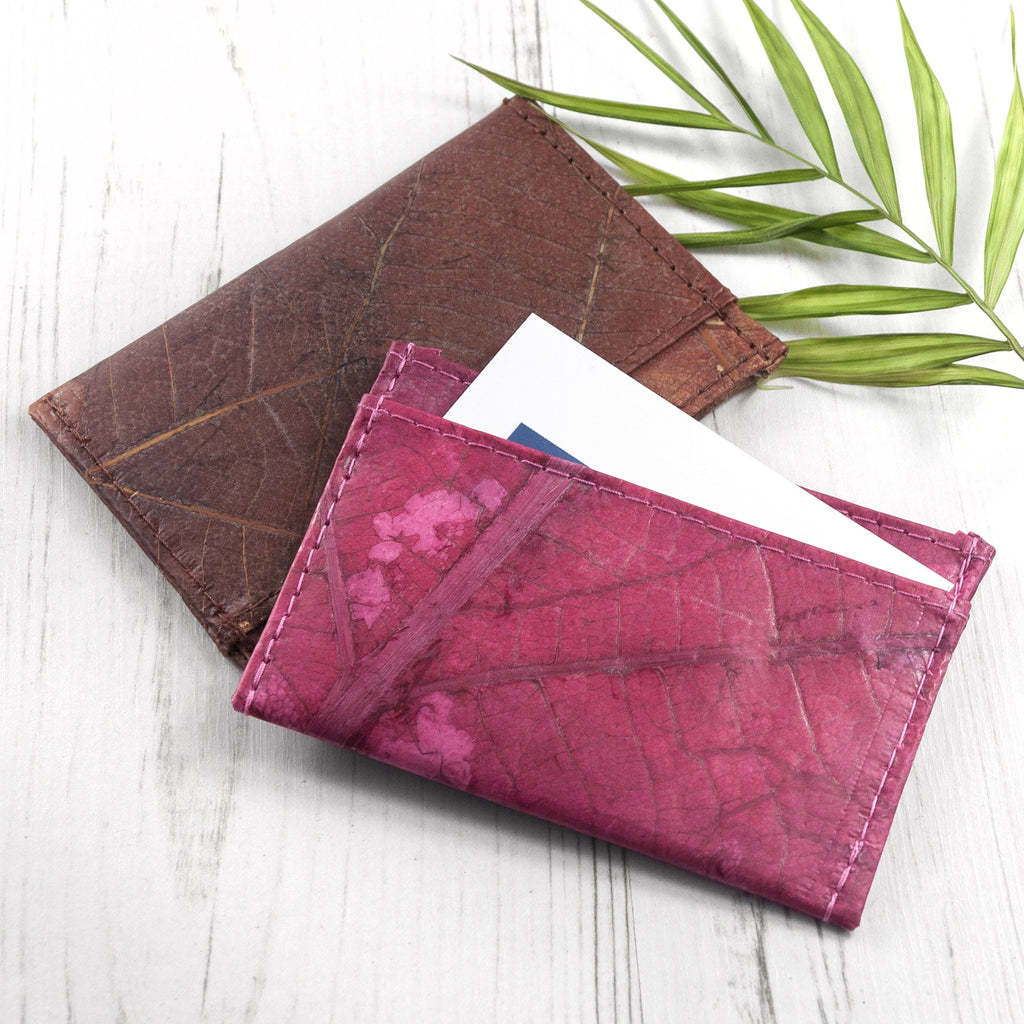 Cardholder in Leaf Leather - Pink Coral
