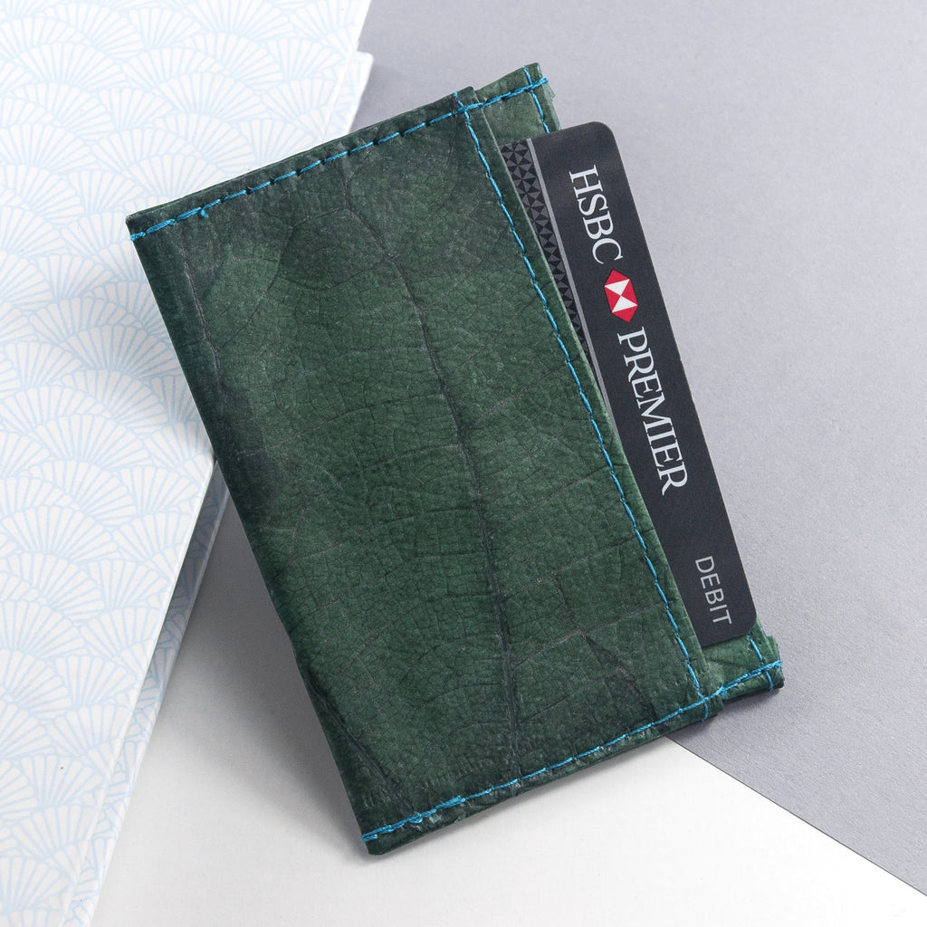 Cardholder in Leaf Leather - Teal