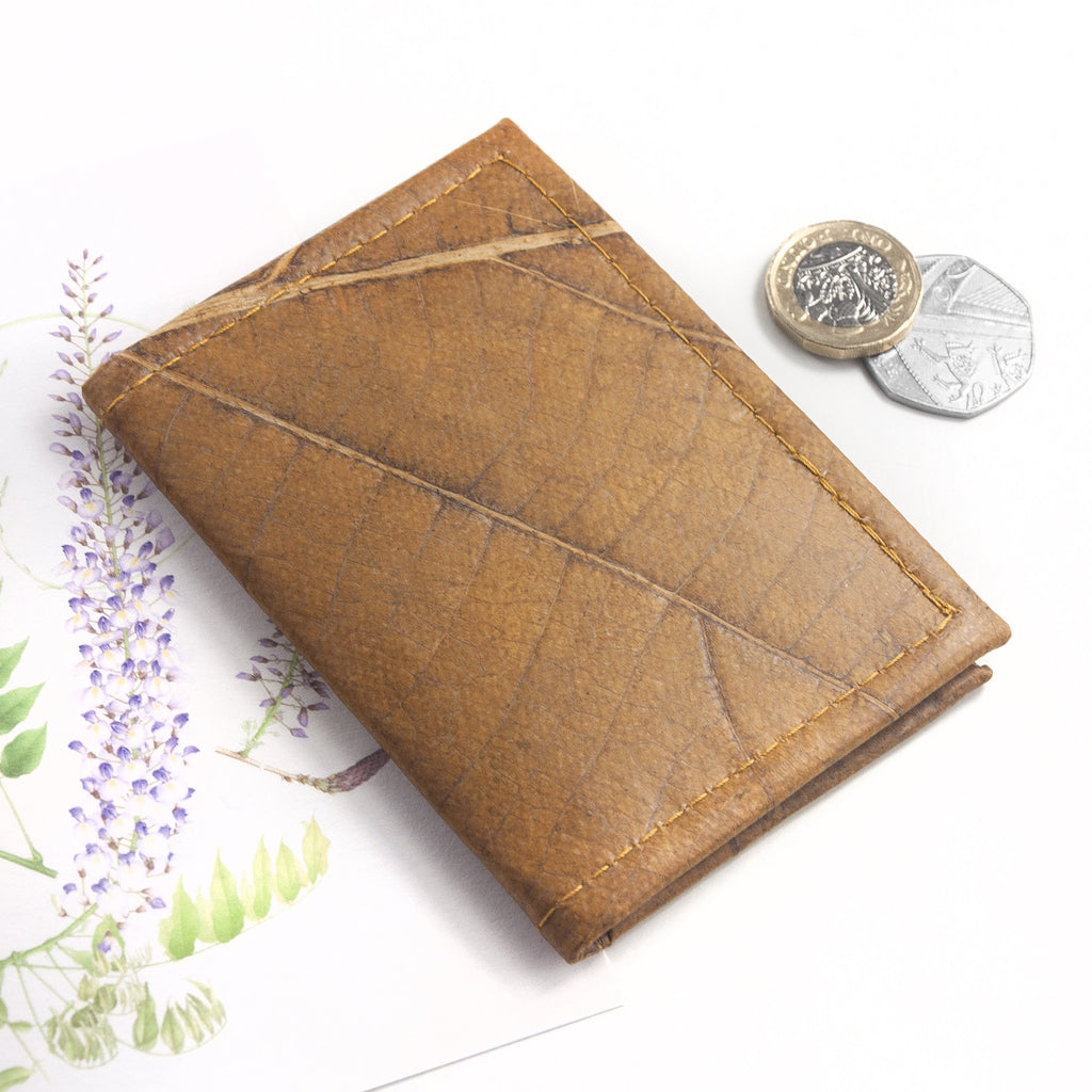 Bifold Cardholder in Leaf Leather - Cinnamon Orange