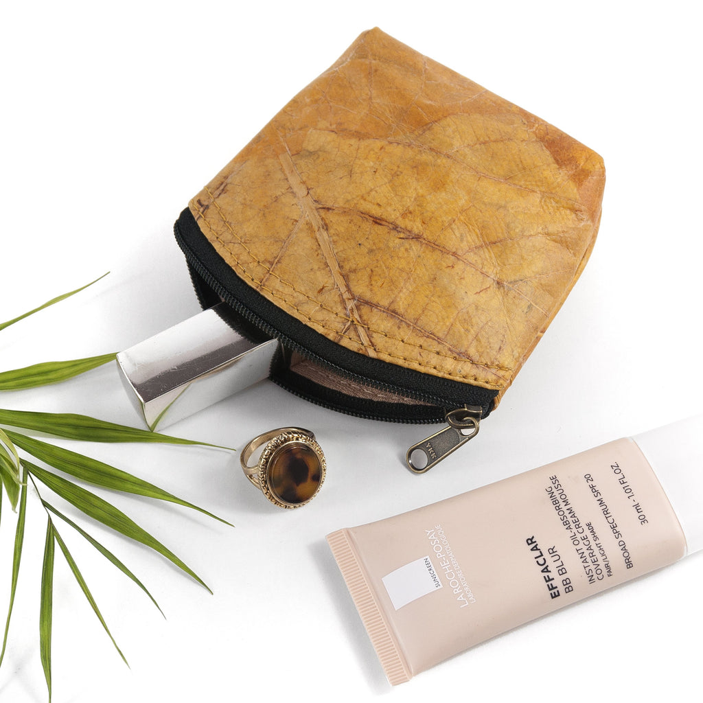 Mini Coin Purse in Leaf Leather - Cinnamon Orange