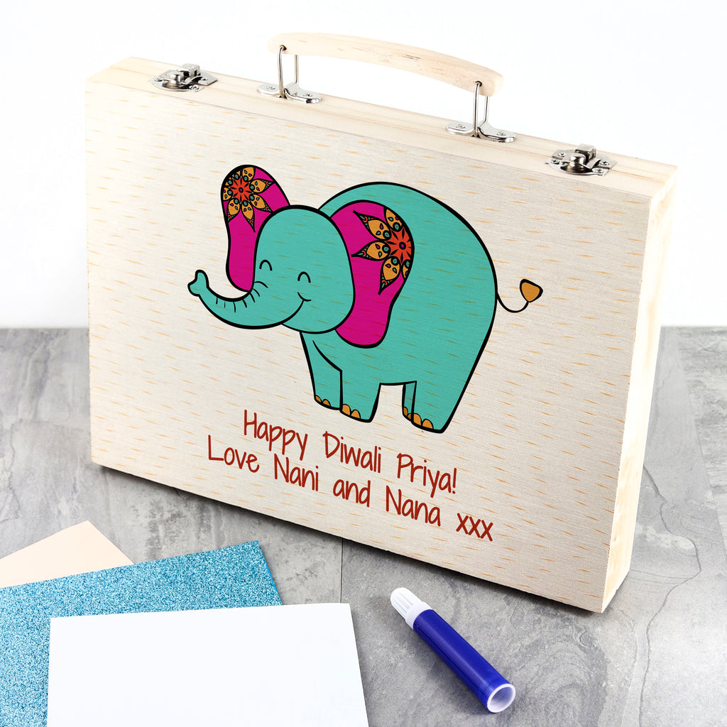 Happy Diwali Elephant Colouring In Set for Kids - treat-republic