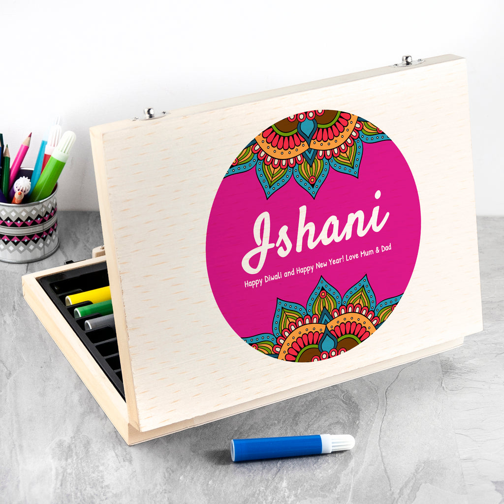 Happy Diwali Personalised Rangoli Colouring In Set - treat-republic