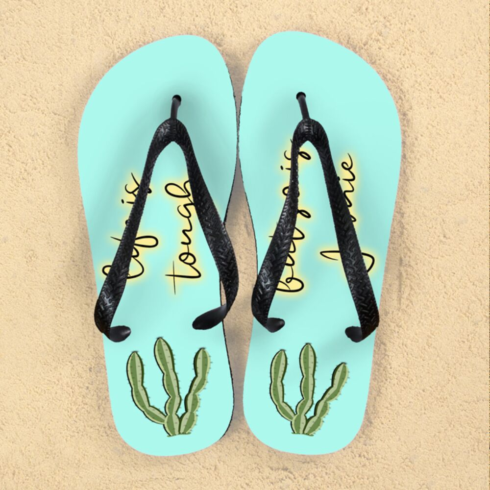 Personalised Tough as Cactus Flip Flops - treat-republic