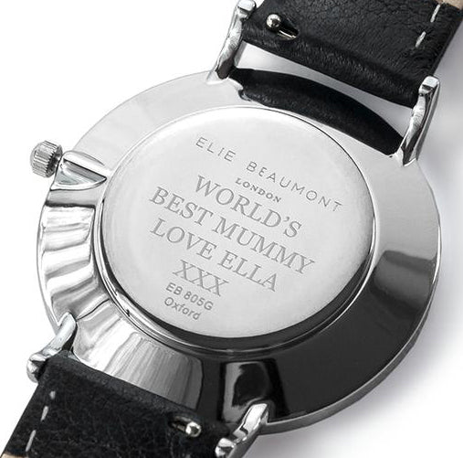 Personalised Vegan Leather Watch in Black with White Dial - treat-republic