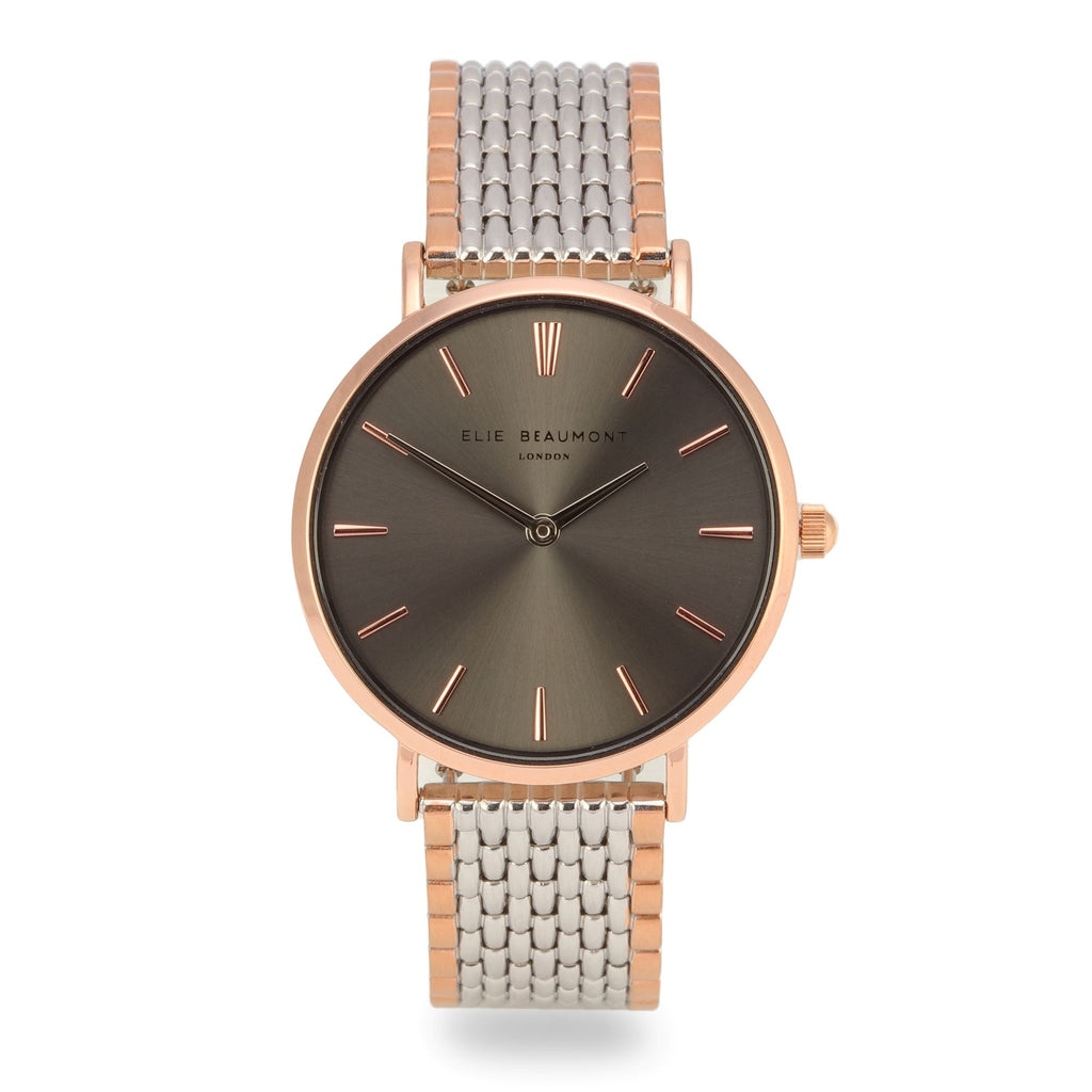 Elie Beaumont Ladies Personalised Bracelet Watch in Two Tone Silver and Rose Gold with Ash Dial