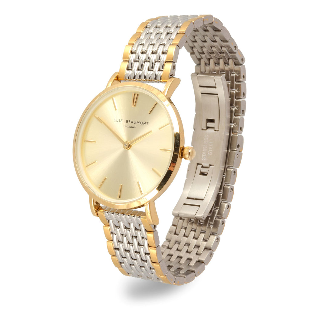 Elie Beaumont Ladies Personalised Bracelet Watch in Two Tone Silver and Gold