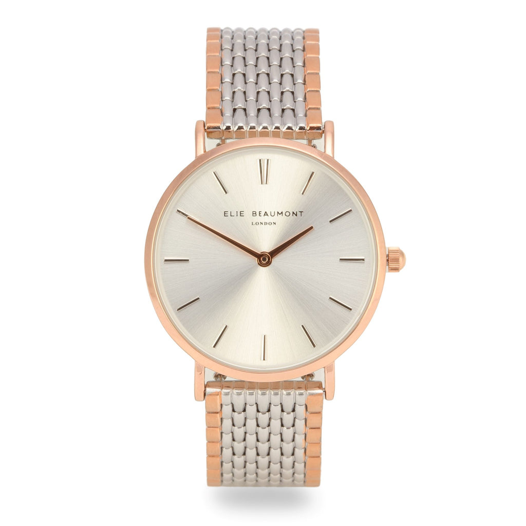 Elie Beaumont Ladies Personalised Bracelet Watch in Two Tone Silver and Rose Gold with Silver Dial