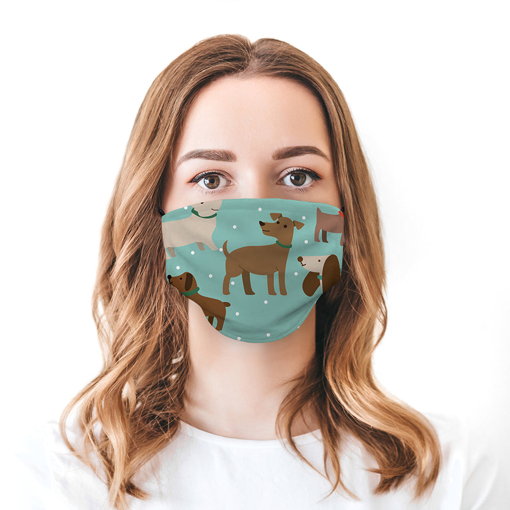 Printed Face Mask - Blue Doggo Pattern Design