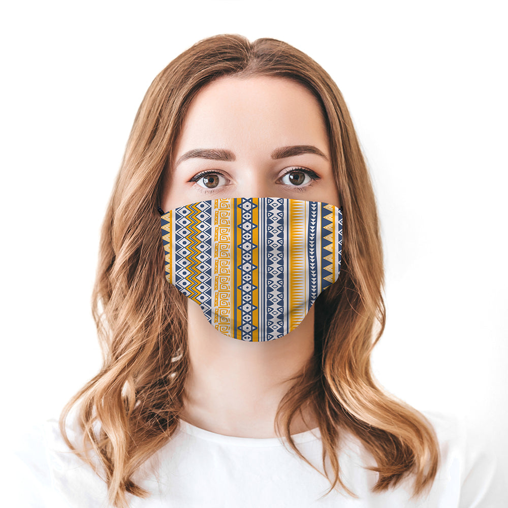 Printed Face Mask - Aztec Pattern Design