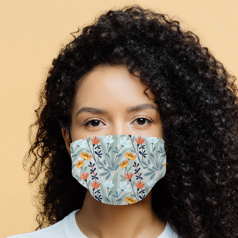 Printed Face Mask - Fleur Pattern Design