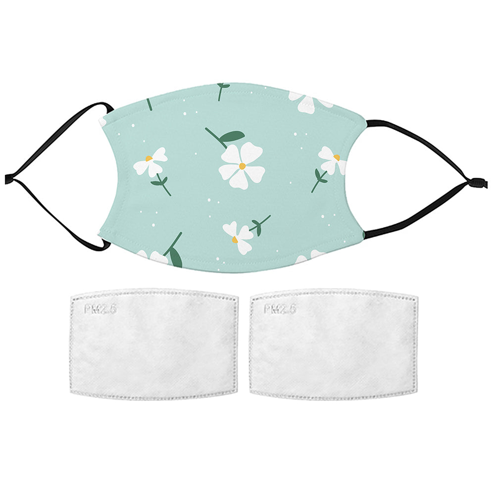Printed Face Mask - White Flowers Design