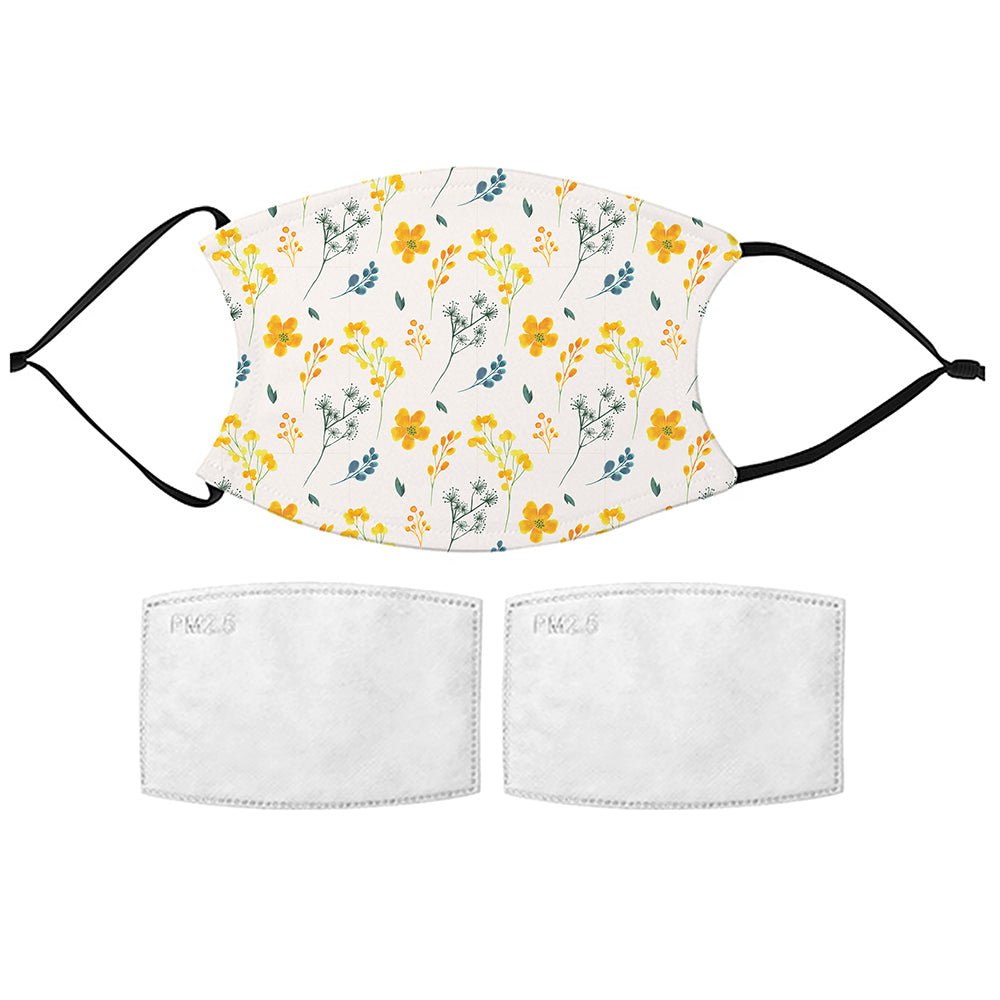 Printed Face Mask - Delicate Flowers Pattern Design