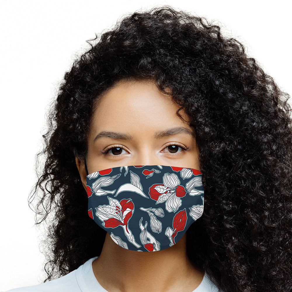 Printed Face Mask - Navy Flower Pattern Design