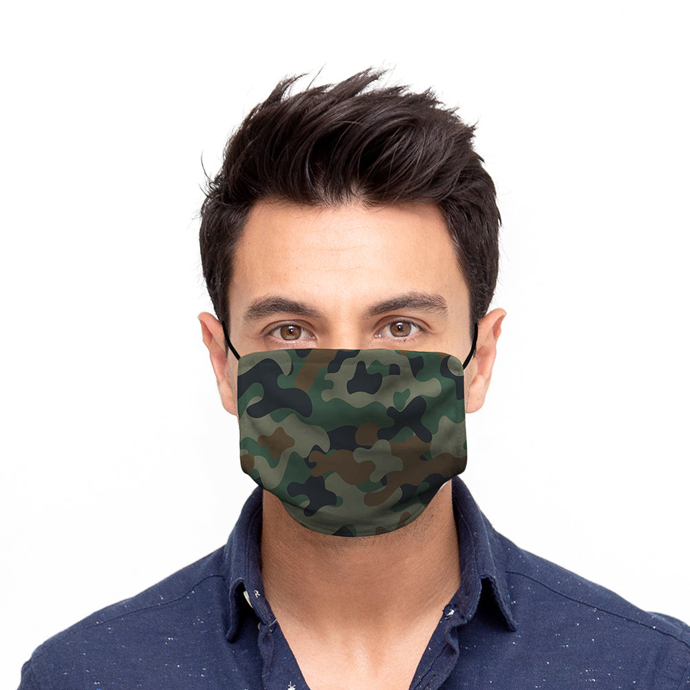 Printed Face Mask - Forest Camo Design