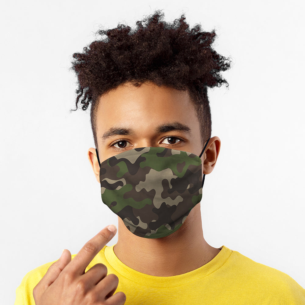 Printed Face Mask - Green Camo Design