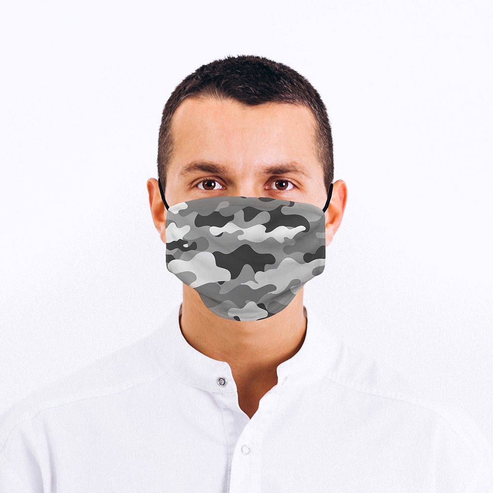 Printed Face Mask - Grey Tones Camo Design