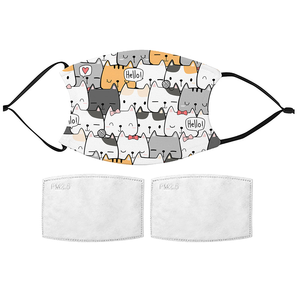 Printed Face Mask - Cute Kitties Pattern Design